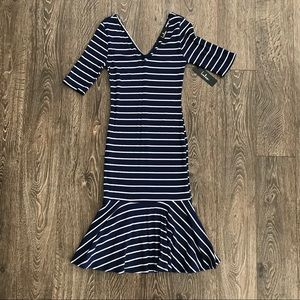 Lulus Navy White Striped Dress NWOT